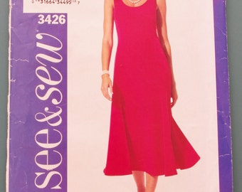 See & Sew 3426 Summer Dress Shift Sewing Pattern Misses Size 6  8  10 UNCUT