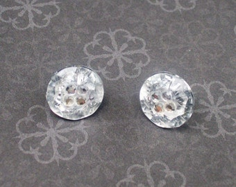 BLING IT ON - Sparkly Rhinestone Button Earrings - Repurposed Jewelry