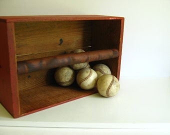 Vintage Red Wood Box with Handle Storage Container Garden Decor Tool Box