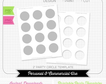 2 inch Cupcake Topper Template - INSTANT DOWNLOAD - DIY party printable
