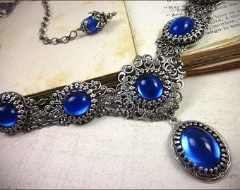 Sapphire Blue Renaissance Necklace, Medieval Jewelry, Tudor Garb, Queen, Italian Renaissance, Ren Faire, Marie Antoinette, Lucia