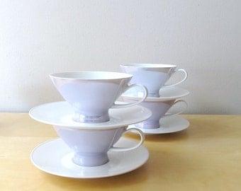 Rosenthal Continentl porcelain teacups saucers crystalline blue lusterware service for 8