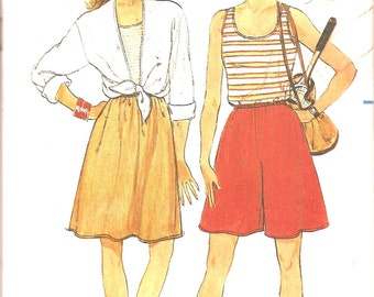 "Vintage Sewing Patterns - 1980s Fashion - Top - Skirt - Culottes - Butterick 6556  -Uncut Bust 34"" to 38"""