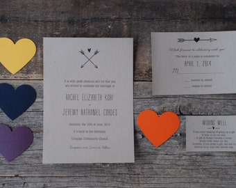 SPECIAL! - Hearts & Arrows Vintage Wedding Invitation Suite - Rustic Love - Woodland Chic - Place Card * Thank You * Menu * Program - Logo