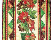 Poinsettia Christmas Quilt Wall Hanging, Red, Green and Ivory, Gold Highlights, Stonehenge fabrics, Quilted Christmas Wall Hanging