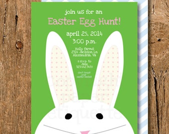 Easter Bunny Invitation -  Easter Egg Hunt  Chevron Birthday or Baby Shower Invitations -  print your own