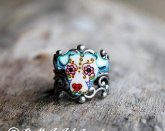 CLEARANCE - Dia de los Muertos Pit Bull Adjustable Filigree Ring