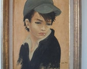 Vintage Rebel Boy Oil Painting by Listed French Artist Nadi Ken Framed 50s 60s Mid Century Modern New Lower Price!