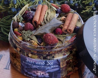 FIRE AND ICE™ Northern Tradition Bonfire Casting Herbs w/ Icy Quartz, Woods, Fruits, Spices, Holly Leaf & Berry, Bayberry and More
