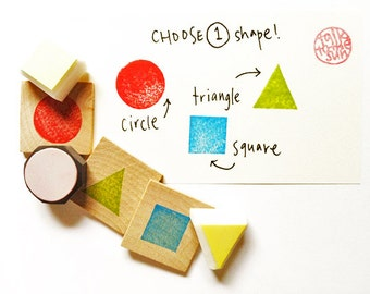 geometric shape hand carved rubber stamp. triangle stamp. square stamp. circle stamp. card making. gift wrapping. small. mounted. select one