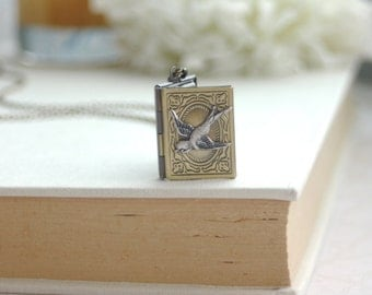 A Flying Swallow Librarian Book Locket Necklace. Flying Bird Locket Necklace. Best Friends. Sister. Librarian Gift. Book Lover. Wife. Mom.
