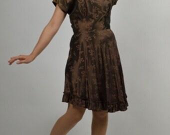 Cocktail Party Dress, Holiday Dress, Brown Dress, Iridescent Dress, Swing Dress, Short Dresses, Brown Dress, 30s Dress, 40s Dresses, Size XS
