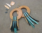 Wooden Leather Fringe Earrings Large, Festival, Natural, Tribal, Ethnic, Native, Gypsy, Hippiechic, aqua, gold, black -NIGHT SKY WARRIOR-