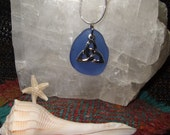 Celtic Trinity Knot Beach Sea Glass Necklace Silver Plated Pewter Lead Free Cornflower Blue Sterling Silver Snake Chain