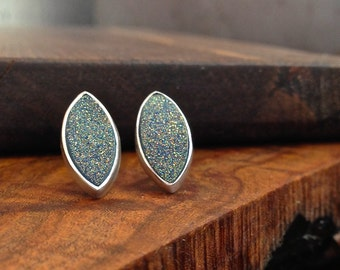 Silver and Drusy Stud Earrings - marquis cabochon