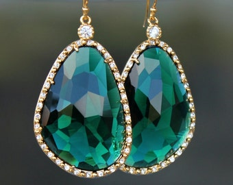 Gorgeous Emerald Green Crystals Framed with Halo Crystals Dangling on Gold French Earringss