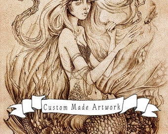 Custom Art Bookings, DEPOSIT for Drawing on Paper, Your Portrait - Your Fantasy, Custom Made Artwork