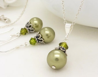 Olive Green Bridesmaid Jewelry Set, Sterling silver, Green Pearl Necklace Earrings, Vintage style wedding jewelry set