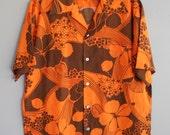 1970s Vintage Aloha Shirt -  Men's Retro Resort Shirt - Hawaiian - Hawaii - Tiki -by Hukilau Fashions - 48 Chest