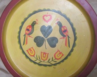 Vintage Hand Painted Tray, Yellow and Red Circle Birds, Love Birds, Lovebirds, Painted, Platter, Circular, Circle, Round, Sweet, Kitsch Tray