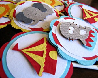 Circus Party Cupcake Toppers, Carnival Party Cupcake Toppers, Circus Birthday Party, Carnival Birthday, Circus Cupcake Topper, Set of 12