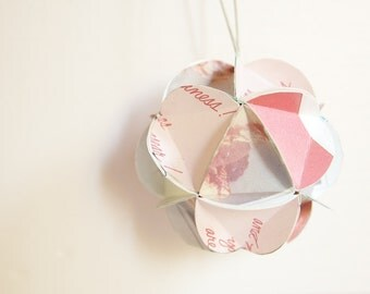 Geometric Upcycled Paper Ornament-Red and White Wishes