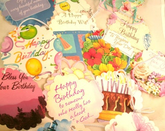 Upcycled Handmade Beautiful Happy Birthday Collection Gift Tag Assortment Already Strung  with Extra nice misc Colored Cord 12 tags
