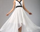 white chiffon dress maxi dress prom dress wedding dress long dress (668)