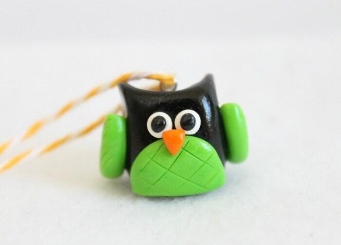 Polymer clay owl christmas ornament