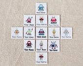 Children's Clothing Labels - Personalized Iron On Name Tags with Robots