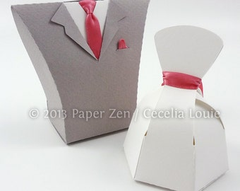 Bride Dress & Groom Tuxedo - Paper Gift Box Die Cutting with SVG files and PDF instructions for Silhouette and Cricut machines
