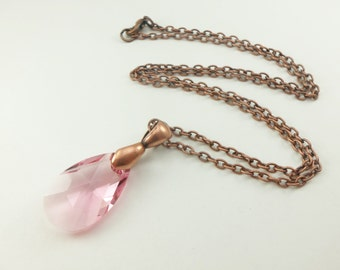 Teardrop Pendant Rose Pink Crystal Necklace Antiqued Copper Waterdrop