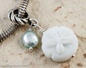 Sand Dollar Big Hole Charm Dangle, Beach Theme, Handmade Lampwork Bead, Freshwater Pearl