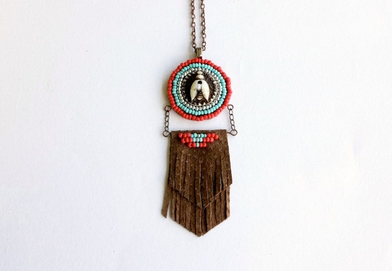 Beaded Medallion Necklace - tribal necklace men, leather fringe seed bead, red and turquoise necklace, fly insect necklace, Wit Medallion