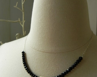 Large Black Spinel Rondelle and Sterling Silver Block Necklace with Sterling Diamond Black and Silver