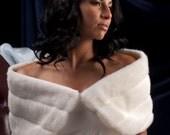 """10"""" wide Custom Bride's Faux Fur Wrap shawl Winter Wedding formal shrug"""