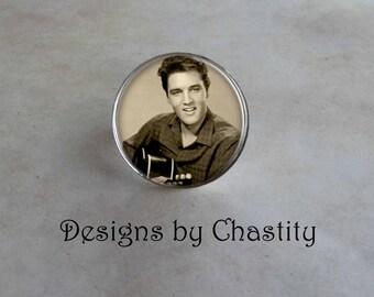 Elvis Presley Ring Glass Art Charm