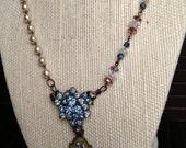 Blue Rhinestone, Vintage Rosary, Crystal, Saint Charm Necklace