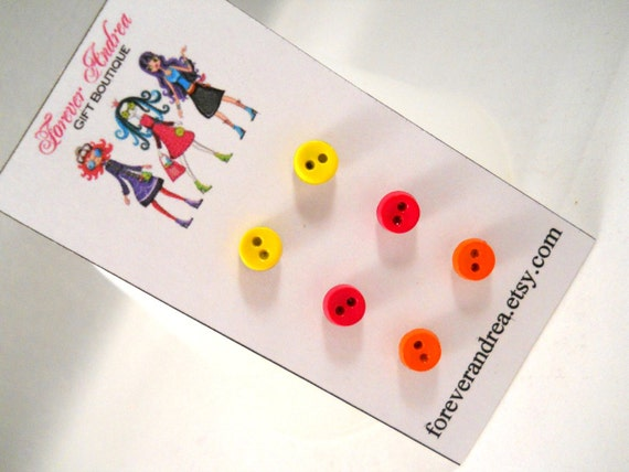 Button Earrings Cute Earrings Tween Girls Jewelry Earrings for Little Girls Hot Pink and Orange and Yellow for Sensitive Ears Surgical Steel