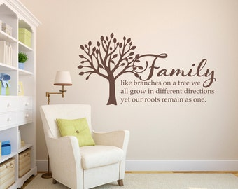 Family Tree Wall Decal   Family Like Branches On A Tree Quote Decal    Living Room Part 80