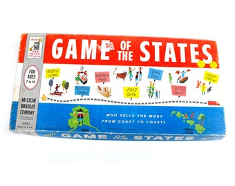 1960 Game of the States Vintage Board Game Educational Home School Geography USA United States Family Red White Blue Patriotic