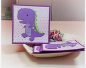 Purple Dino T Rex  Dinosaur- Mini Cards Thank You Cards  ( Set of 4)