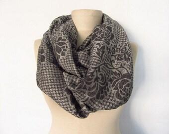 Black Grey scarf // Pashmina scarf // Infinity scarf // Circle Scarves // soft scarf