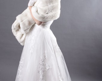 Ivory Faux Mink Bridal Wrap-JH1619