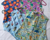 Flannel Little Artist Smock or Child Apron. Your Choice Zoo Animals,Save The Earth,Basketball,Helicopters, MTO, Ready To Ship,Handcrafted