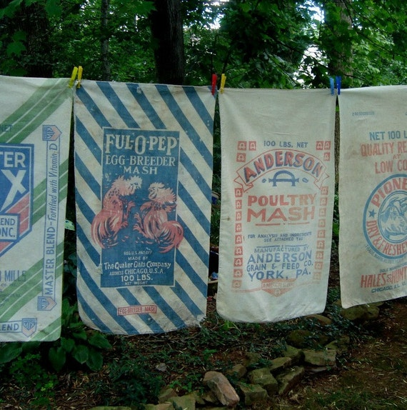 Chicken Feed Quaker Ful O Pep Vintage Cotton Sack Red Blue