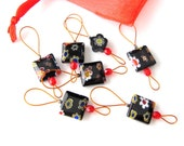 Bead Knitting Stitch Markers - Set of 7 Handmade Flat Square Bead Knitting Markers - Black Licorice