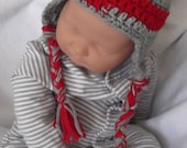 Gray and Red Hat.... Earflaps & Braids...Ohio State... Buckeyes...Newborn up to 9 month sizes...READY To SHIP...Perfect for Gift Giving