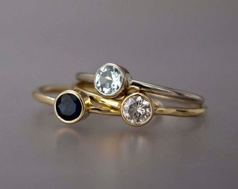 Birthstone Ring in Solid Gold, Valentine or Mother's ring with 4mm birth stone in 14k yellow or white gold