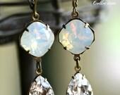 Swarovski White Opal and Crystal Tear Drop Earrings, Moonstone  Earrings, Cushion Cut Earrings, Opal Earrings